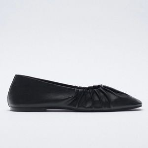 Zara Ruched Leather Ballet Flats